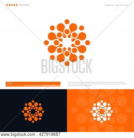 Sun Or Flower Vector Logo Concept For Business, App, It Startup. Minimal Flat Style Logotype Templat
