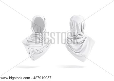 Blank White Woman Muslim Hijab Mockup, Front And Back View, 3d Rendering. Empty Silk Religious Femal