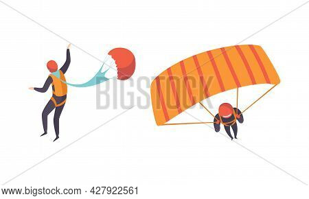 Parachute Jumpers Set, Skydivers Flying With Parachutes, Extreme Sport, Skydiving Cartoon Vector Ill