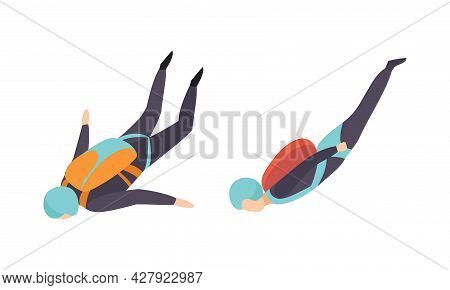 People Skydiving In Sky, Skydivers Floating In The Air Cartoon Vector Illustration