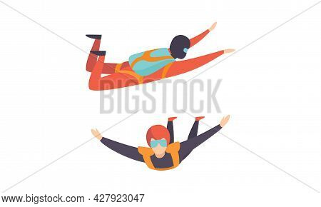 People Skydiving In Sky, Free Fall Of Skydivers Cartoon Vector Illustration
