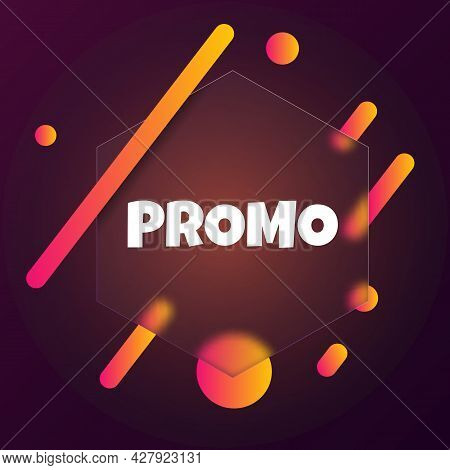 Promo. Speech Bubble Banner With Promo Text. Glassmorphism Style. For Business, Marketing And Advert