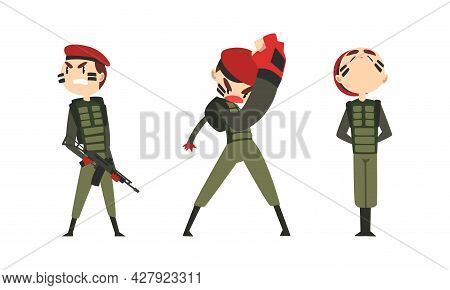 Set Of Army Soldiers, Men In Camouflage Combat Uniform And Red Beret Fighting Cartoon Vector Illustr