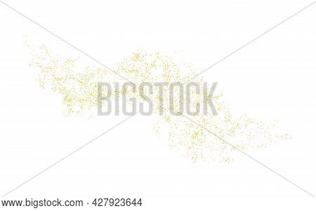 Gold Crumb Background. Horizontal Wavy Strip Sprinkled With Crumbs Golden Texture. Backdrop Dust Iso