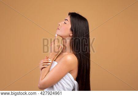 Profile Shot Of Beautiful Armenian Woman With Silky Black Hair Touching Chin Posing On Brown Backgro