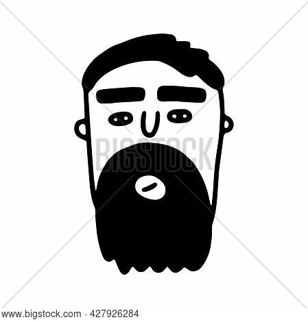 Doodle Bearded Face. Hand-drawn Outline Human Isolated On White Background. Funny Minimalistic Avata