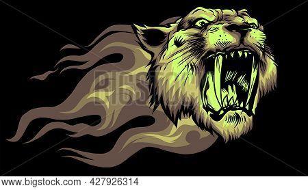 Head Jaguar With Flame Tattoo Vector Illustration