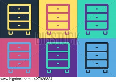 Pop Art Archive Papers Drawer Icon Isolated On Color Background. Drawer With Documents. File Cabinet