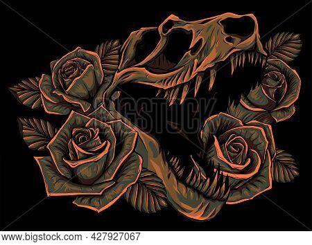 Illustration Tyrannosaurus Rex And Roses Frame. Tattoo Design.