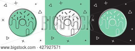 Set Donut With Sweet Glaze Icon Isolated On White And Green, Black Background. Vector
