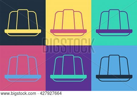 Pop Art Jelly Cake Icon Isolated On Color Background. Jelly Pudding. Vector