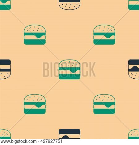 Green And Black Burger Icon Isolated Seamless Pattern On Beige Background. Hamburger Icon. Cheesebur