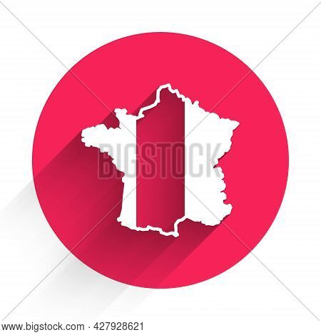 White Map Of France Icon Isolated With Long Shadow Background. Red Circle Button. Vector