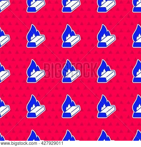 Blue Molten Gold Being Poured Icon Isolated Seamless Pattern On Red Background. Molten Metal Poured