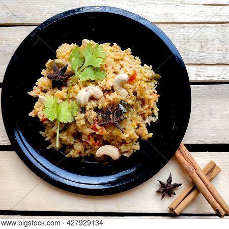 Indian Traditional Dish Vegetable Rice Or Pulao Or Vegetable Briyani Made With Basmati Rice, Vegetab
