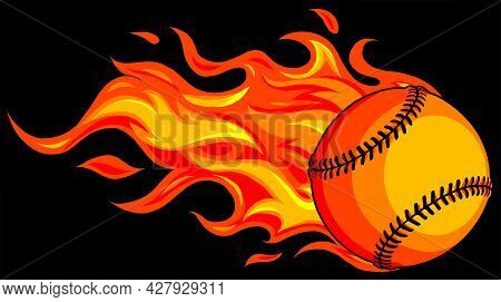 Baseball With Flames On Black Background Vector Illustration