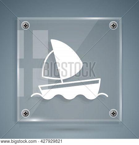 White Yacht Sailboat Or Sailing Ship Icon Isolated On Grey Background. Sail Boat Marine Cruise Trave