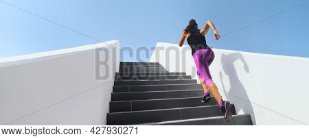 Stairs running workout athlete runner woman jogging doing hiit step up staircase high intensity interval training. Panoramic banner of active people lifestyle.