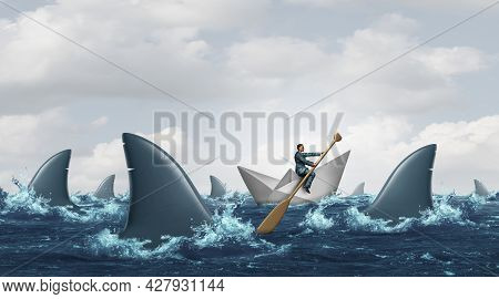 Courage Business Concept And Navigating Through Troubled Waters As A Survival Strategy Solution From