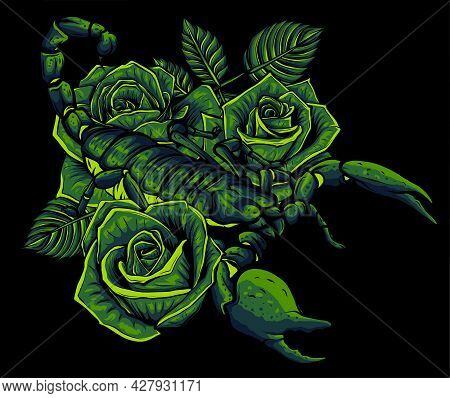 Detailed Realistic Scorpio In A Decorative Frame Of Roses.