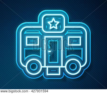 Glowing Neon Line Machine Trailer Dressing Room For Actors Icon Isolated On Blue Background. Movie C