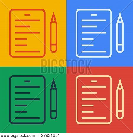Pop Art Line Scenario Icon Isolated On Color Background. Script Reading Concept For Art Project, Fil