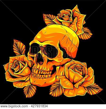 A Human Skulls With Roses Vector Illustration