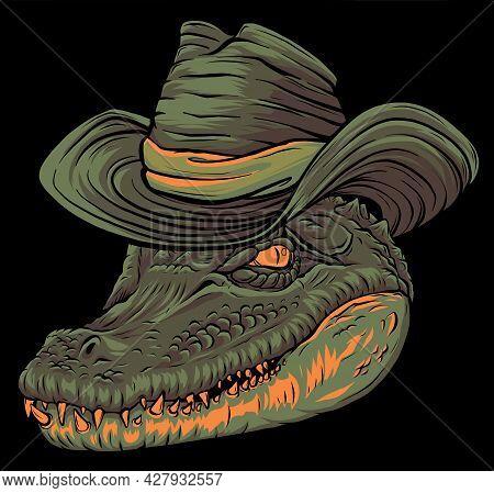 Vector Illustration, A Ferocious Alligator Head With Hat