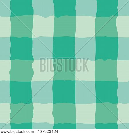 Vector Watercolor Effect Gingham Seamless Pattern Background. Organic Irregular Stripes Painterly Gr