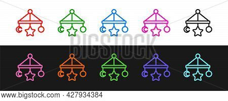 Set Line Baby Crib Hanging Toys Icon Isolated On Black And White Background. Baby Bed Carousel. Vect