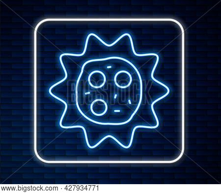 Glowing Neon Line Virus Icon Isolated On Brick Wall Background. Corona Virus 2019-ncov. Bacteria And