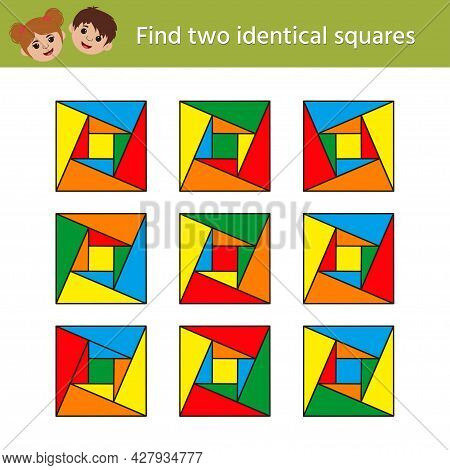 Logic Iq Game For Children. Find Two Identical Shapes. Worksheet Fo Development Of Attention, Memory