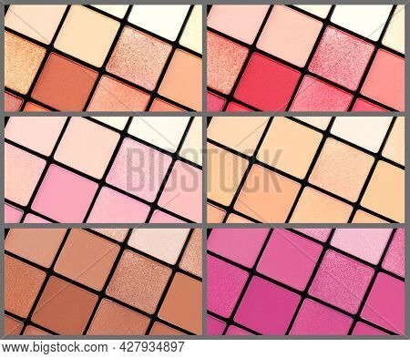 Make up palette set. Professional multicolor eyeshadow palette. Makeup. Professional multicolor eye shadow make-up palettes background, close-up. Various Colorful bright eye shadows backdrop.