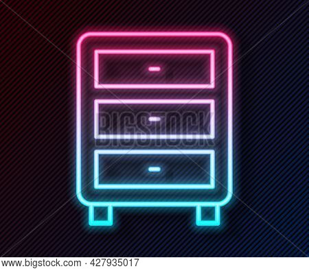 Glowing Neon Line Archive Papers Drawer Icon Isolated On Black Background. Drawer With Documents. Fi