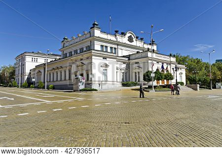 Sofia, Bulgaria - September 22, 2012: View To National Assembly Building, Bulgarian Parliament Durin