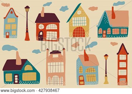 Set Of Various Small Tiny Houses. Urban Landscape Or View Of European City Street With Stores, Shops