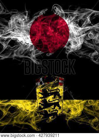 Smoke Flags Of Japan, Japanese And Germany, German, Deutschland, Baden Wurttemberg