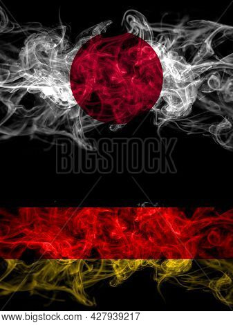 Smoke Flags Of Japan, Japanese And Germany, German, Deutschland