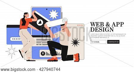 Design And Programming Banner, Web Landing Page, Advertisement. Designers Working On Ui Ux Design Or