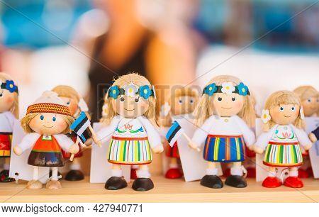 Tallinn, Estonia - July 26: Colorful Estonian Wooden Dolls At Local Market On July 26, 2014 In Talli