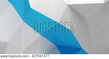 Triangle Geometric Polygon Abstract White Background Pattern With Blue Band, 3d Illustration