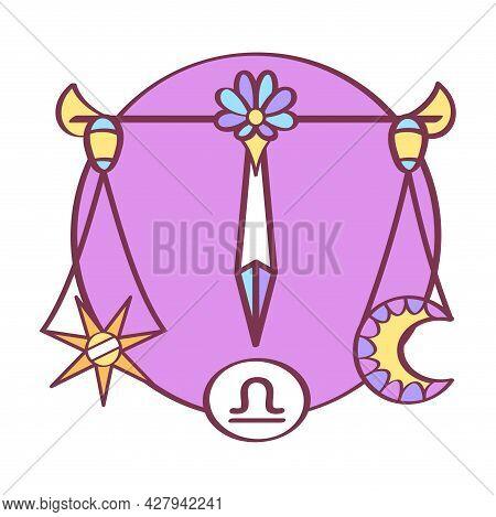 Isolated Libra Icon Colored Zodiac Sign Vector
