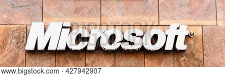 Tallinn, Estonia - July 26: Microsoft Corporation Headquarter. Microsoft Is A Multinational Corporat