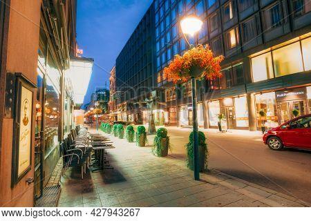 Helsinki, Finland - July 27, 2014: Night View Of Kluuvikatu Street In Helsinki