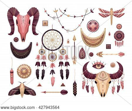 Vector Set Of Boho Illustrations. Flat Style. Dreamcathers, Animal Skull, Feathers And Arrows