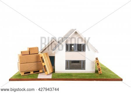 Removal at free standing house isolated over white background