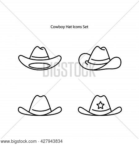 Cowboy Hat Icons Set  Isolated On White Background. Cowboy Hat Icon Thin Line Outline Linear Cowboy