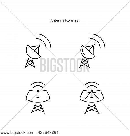 Antenna Icons Set Isolated On White Background. Antenna Icon Thin Line Outline Linear Antenna Symbol