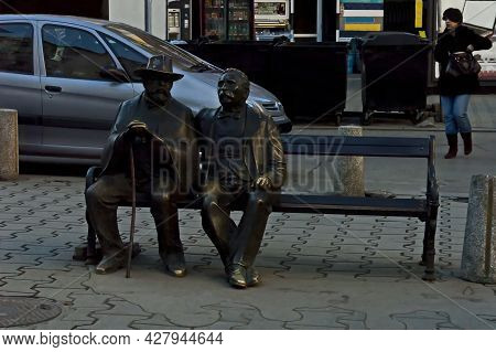 Sofia, Bulgaria -  March 10, 2011: Sculptures Of Poets Father And Son, Pencho And Petko Slaveykovi O