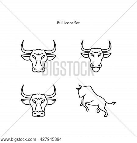 Bull Icons Set Isolated On White Background. Bull  Icon Thin Line Outline Linear Bull Symbol For Log
